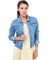 KRISP® Womens Blue Denim Jacket Jeans Button Down Long Sleeve Cropped Retro 80s Coat