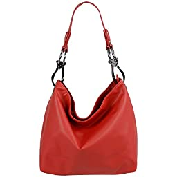 FASH Top Handle Soft Hobo Shopper Handbag,Red,One Size