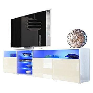 mobile porta tv credenza madia Mozart art. 1711 bianco bianco lucido cm. 194