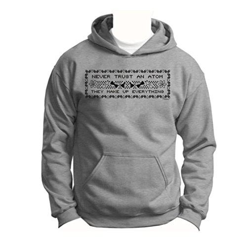 Never Trust An Atom, Funny Ugly Christmas Sweater Youth Hoodie Sweatshirt Small Sport Grey