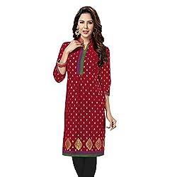 Stylish Girls Women Cotton Printed Unstitched Kurti Fabric (SG_K107_Red_Free Size)