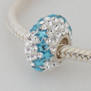 White / Blue Stars - Swarovski Crystal Discoball - Sterling Silver Core Charm Bead - fits Pandora, Chamilia etc style Bracelets - SpangleBead