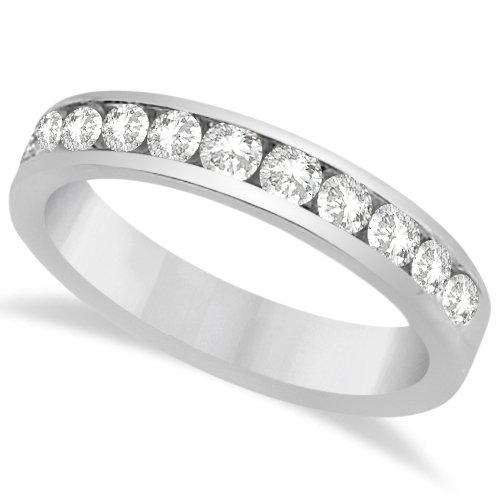Ladies Set Round Moissanite Wedding Band/Anniversary Ring 14K White Gold 0.66Ctw