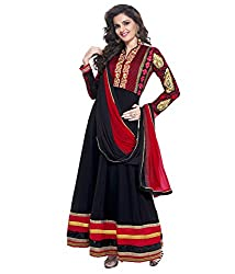 Touch Trends Black Embroidered Dress Material