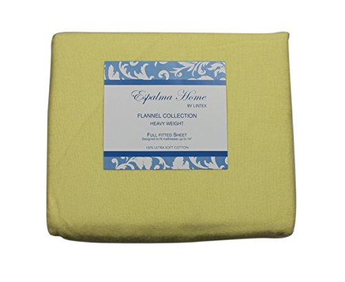 Flannel Fitted Sheet, Full, Yellow, 100% Brushed Cotton, Heavy Weight, 160 Gsm, 1 Fitted Sheet (54