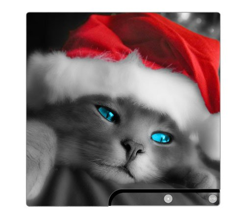 Christmas Kitty Cat Decorative Protector Skin Decal Sticker for PlayStation 3 PS3 SLIM Console