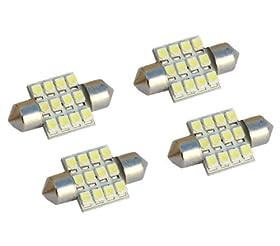 "Cutequeen Yellow 31mm(1.25"") 12-SMD 12V Festoon Dome Light LED Bulbs DE3175 DE3021 DE3022 3175(pack of 4)"