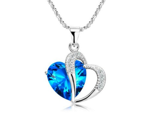 KATGI Fashion Sterling Silver Plated Diamond Accent Austrian Crystals Heart Shape Pendant Necklace