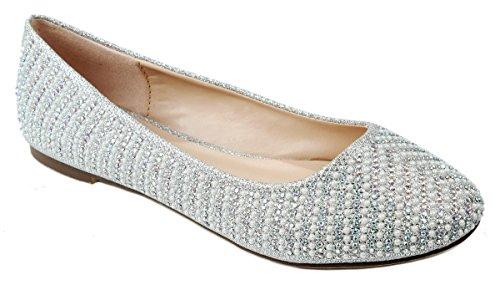 Women Sparkle Pearl Rhinestone Glitter Mesh Loafer Slip On Ballet Flat Dressy Shoes