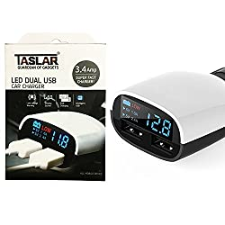 Taslar(TM) 3.4 Amp Dual USB Intelligent Smart Chip High Speed Plug Car Charger with LED Display and Low Voltage Alarm For All Types of Cars (Black - White)