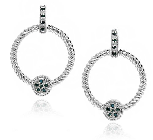 Sterling Silver 925 Genuine Blue Diamond Accents .2cts (Color H-I, Clarity I3) Twisted Rope with Circular Station Dangle Earrings