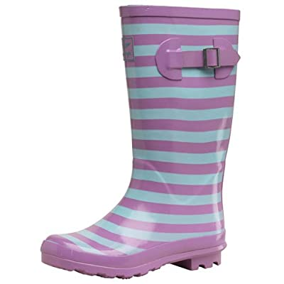 Board Angels Girls Stripe Wellington Boots Lilac/Mint
