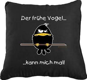 Rahmenlos Coussin décoratif avec housse en 100 % coton Motif oiseau matinal et texte en allemand 40 x 40 cm Norme Öko-Tex 100