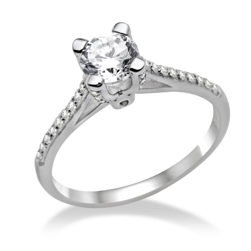 Miore Ladies 925 Sterling Silver Cubic Zirconia Engagement Ring MPS022RO - Size N