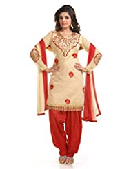 Ethnic For You Beige & Red Chanderi Cotton Embroidery Work Dress Material