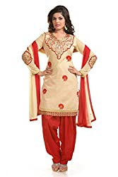Ethnic For You Women's Cotton Salwar Suit Dress Material(ETH5241_Beige)