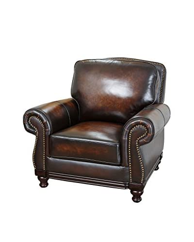 Abbyson Living Barclay Hand-Rubbed Leather Armchair, Brown