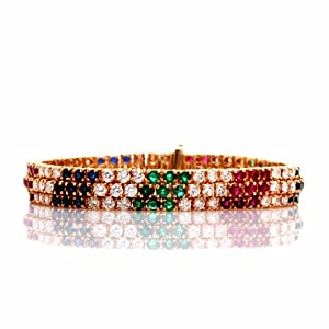 Estate 18.25 Ct Diamond Multi Gemstone 18k Gold Bracelet