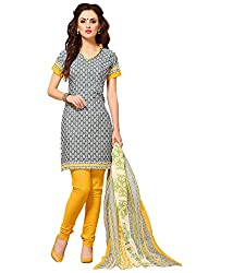 The Ethnic Chic Grey & Off White Colored Cotton Suit