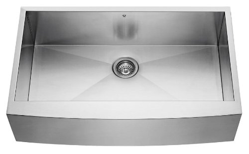 VIGO VG3620CK1 36-inch Farmhouse Stainless Steel Kitchen Sink, Grid and Strainer