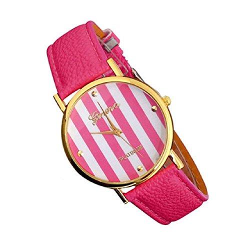 Suppion Woman Man Classic Stripes Print Pu Leather Analog Quartz Wrist Watch Hot Pink
