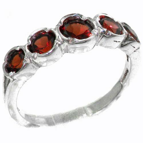 Genuine Solid Sterling Silver Natural Vibrant Garnet Womens High Quality Ring - Size 11.75 - Finger Sizes 4 to 12 Available - Suitable as an Anniversary ring, Engagement ring, High Quality ring, or Promise ring