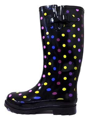 Amazon.com: Women's Colors Polka Dots Rain Boots Buckle