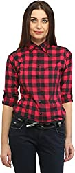 Blackcity Womens/Girls Cotton checkered 3/4th Sleeve Warm Red Shirt