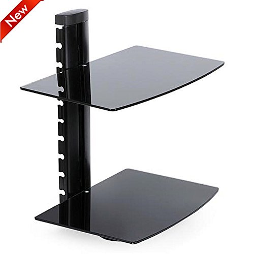 popamazing-2-tier-black-glass-wall-mounted-floating-tv-shelf-stand-for-sky-box-cable-box-dvd-player-