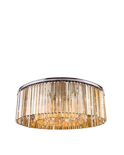 Urban Lights Sydney 10-Light Flush Mount, Polished Nickel/Golden Teak
