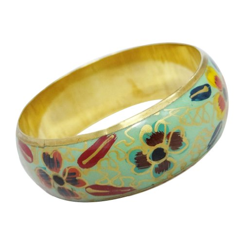 Floral Design Multi Color Brass Bangle Bracelet Gold Tone Party Wear Fashion Jewellery India Gift SIZE 2*10