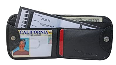 RFID Blocking Nappa Leather Commuter Wallet (Basic Black Pebble)