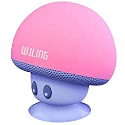 WJLING New Mini Portable Mushroom Bluetooth Speaker Wireless Silicone Suction Kickstand Compatible with Cell phone/ iPad/Tablet and all Bluetooth Devices (Pink)