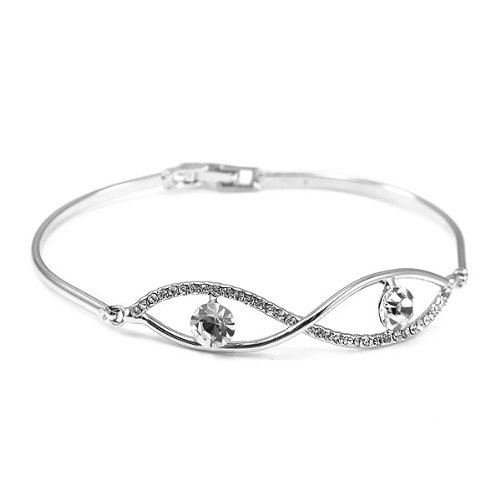 Perfect Gift - High Quality Elegant Bangle with Silver Swarovski Crystal (1222) for Birthday Anniversary Free Standard Shipment Clearance