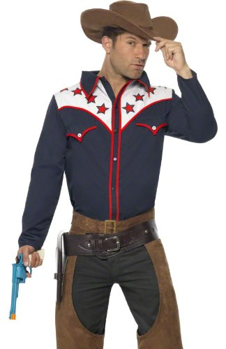 Smiffy's Men's Rodeo Cowboy Costume with Shirt Chaps and Hat