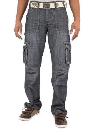 ENZO Jeans Mens Designer Branded Combat Jeans EZ38 Waist 28 to 48 (W28 Short Leg, DARK STONE WASH)