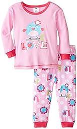 Gerber Baby Girls\' Love 2 Piece Cotton Pajama, Bird, 24 Months