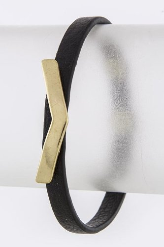 Trendy Fashion Jewelry Wide V Stud Skinny Leather Bracelet By Fashion Destination | (Matted Gold)