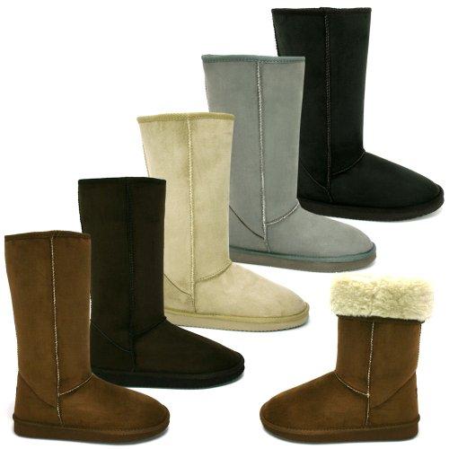 New Womens Grey Snugg Tall Fur Classic Sheepskin