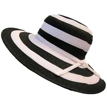 Luxury Divas Stunning Black & White Wide Brim Paper Braid Floppy Hat