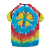 Casual Canine Cotton 16-Inch Tie Dye Peace Sign Dog Tee, Medium