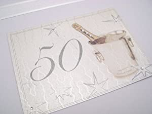 White Cotton Cards 50th Birthday Keepsake Box, Large, Silver Champagne