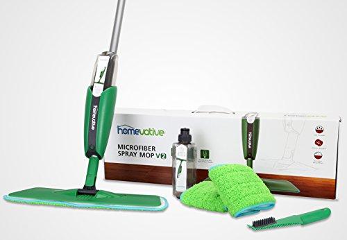 Homevative Microfiber Spray Mop V2 Kit with 3 Rewashable Carbon Fiber Pads, 2 Reusable Bottles, and Hair/Gum Scraper (Shark Stick Vacuum N Mop compare prices)