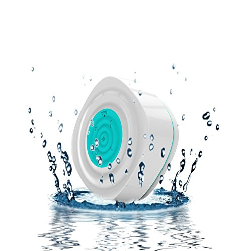 Tmvel Mini Water Resistant/Waterproof Bluetooth Wireless Speaker with Suction Cup for Showers, Bathroom, Pool, Boat, Car, Beach, Outdoor etc. IPX5