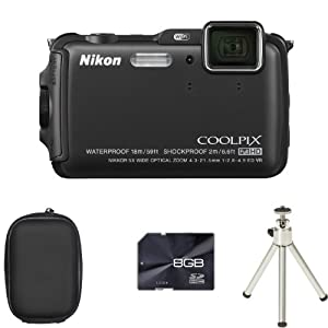Nikon COOLPIX AW120 Digital Camera - Black + Case + 8GB Card + Tripod (16.0 MP, 5x Optical Zoom) 3.0 inch OLED with Wi-Fi and GPS