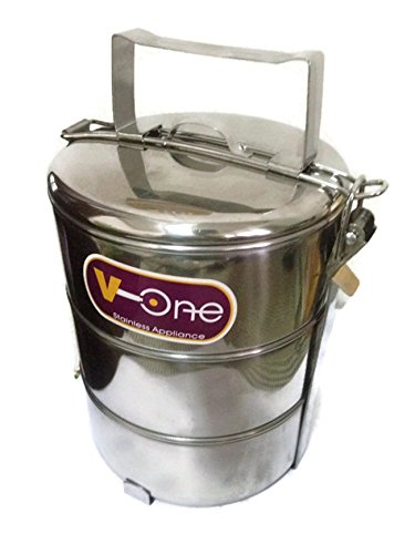V-One Stainless steel 3 Layer Lunch Box Picnic Food Carrier 14cm x 3 tier (Dragon Ball Z Metal Cooler compare prices)