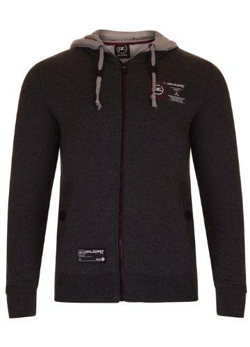 Mens 'Raw Craft' Zip Thru Sweatshirt With Contrast Hood. Style Name - Gervinho (C606608C). In Charcoal Marl Size - medium