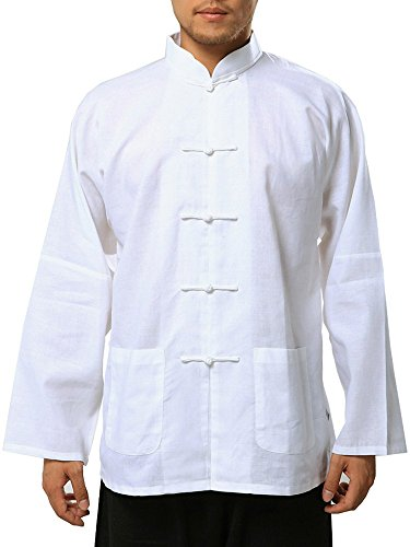 White Linen/cotton Blend Chinese Shirt for Men (X-Large)