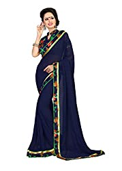Fashion205 Women Faux Georgette Saree (OCO-AR8-1068_Navy_Navy_Free Size)