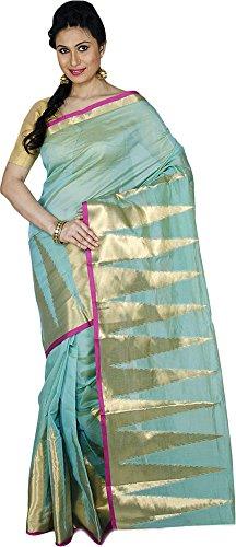 KAAJAL SAREES Women's Banarasi Raw Silk Saree (Light Sea Green)